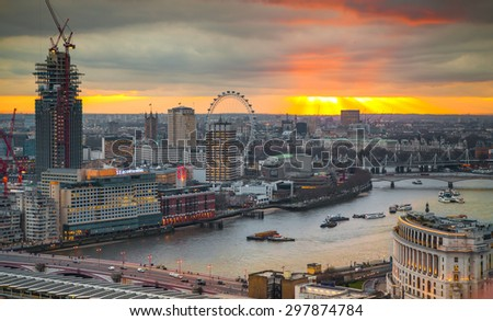 LONDON, UK - JANUARY 27, 2015: panoramic view City of London - stock photo