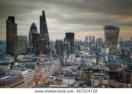 LONDON, UK - JANUARY 27, 2015: Panoramic view City of London at sunset - stock photo