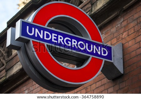LONDON, UK - JANUARY 19TH 2016: A sign for an Underground train station in London, on 19th January 2016. - stock photo