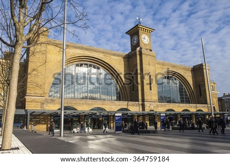 LONDON, UK - JANUARY 19TH 2016: A view of the main building of Kings Cross Station in London, on 19th January 2016. - stock photo