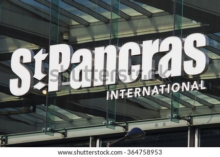 LONDON, UK - JANUARY 19TH 2016: A view of the main entrance sign for St. Pancras International station in London, on 19th January 2016.