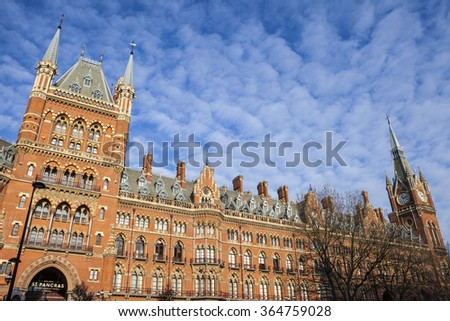 LONDON, UK - JANUARY 19TH 2016: The former Midland Grand Hotel in Kings Cross, London on 19th January 2016.  The building now houses the luxury St. Pancras Renaissance London Hotel.  - stock photo