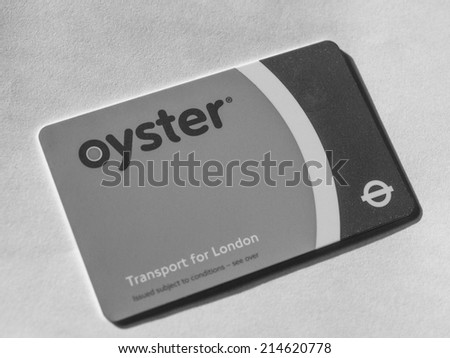 LONDON, UK - JANUARY 23, 2014: The Oyster Card uses near field communication technology for public transport ticketing in and around London