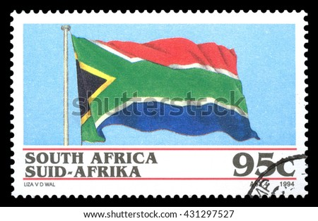 London, UK, January 15 2012 - Vintage 1994 Republic of South Africa cancelled postage stamp  showing a drawing of the new national flag