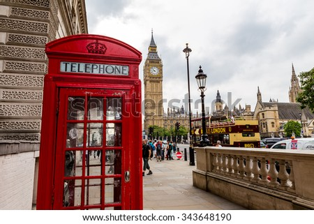 London, UK - July 11, Big Ben, July 11.2014 in London - stock photo
