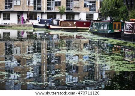 London, UK - July 17, 2016. Boats on the Regents Canal