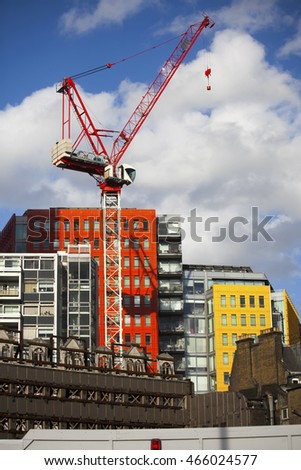LONDON, UK - JULY 25 2015: Bright-coloured facade of the modern Central Saint Giles mixed-use development in London, England.