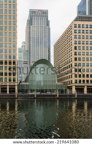 LONDON, UK - JULY 26 2014: Canary Wharf. Business district in east London UK - stock photo