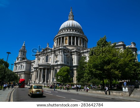 London, UK - July 08, Cathedral of St. Paul in London, July 08, 2014 in London