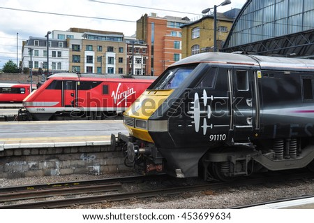 LONDON/UK - July 16, 2016. Class 91's awaiting depature at King's Cross station, London, England, UK