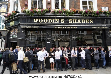 London , UK - July 6, 2016: Exterior of pub, for drinking and socializing, focal point of the community. Pub business, now about 53,500 pubs in the UK, has been declining every year.