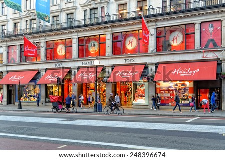 LONDON, UK - JULY 1, 2014: Hamleys Toy Shop on Regent Street in London in the evening. Founded in 1760, Hamleys is the oldest toy shop in the world. - stock photo