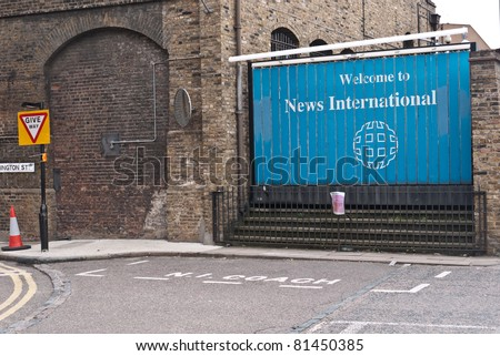 LONDON, UK-JULY 22: Headquarters of Rupert Murdoch's News International in Wapping. Former base of the News of the World until it stopped publication on 10th July 2011. July 22, 2011 in London UK - stock photo