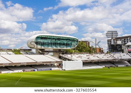LONDON, UK - JULY 21, 2015: JP Morgan Media Center at Lord's Cricket Ground in London, England. It is referred to as the home of cricket and is home to the world's oldest cricket museum. - stock photo
