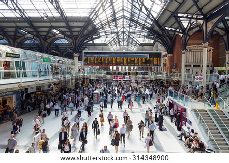 London, UK - July 1, 2015 : London Liverpool Street Station during rush hour. - stock photo