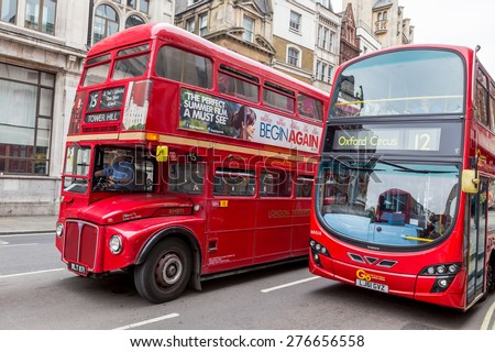 London, UK-July 20, red buses in London, July 20.2014 in London - stock photo