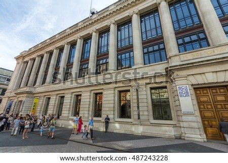 LONDON, UK - JULY 21, 2015: Science Museum in London. It was founded in 1857 and today is one of the city's major tourist attractions, attracting 3.3 million visitors annually.