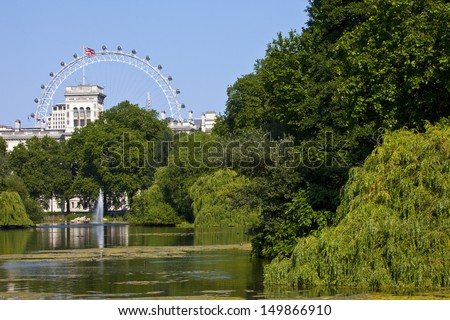 LONDON, UK - JULY 9, 2013: The beautiful view from St. James's Park in London. - stock photo