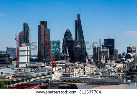 London, UK - July 18, the City of London, July 18.2014 in London - stock photo