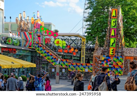 LONDON, UK - JULY 1, 2014: The Festival of Love at the Southbank Centre From 28 June 2014 to 31 August 2014. - stock photo