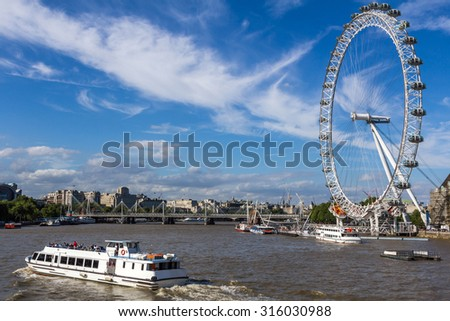 LONDON, UK - JULY 22, 2015: The London Eye is a giant Ferris wheel on the South Bank of the River Thames in London. Also known as the Millennium Wheel.