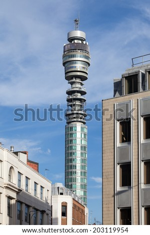 LONDON, UK - JULY 4, 2014: The top of the British Telecom Tower in central London during the day.