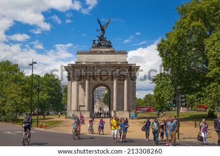 LONDON, UK - JULY 29, 2014:  Triumph arch in London, Green park - stock photo