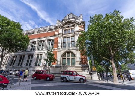 LONDON, UK - JULY 20, 2015: Victoria and Albert Museum in London, England. It is the world's largest museum of decorative arts and design, housing a permanent collection of over 4.5 million objects. - stock photo