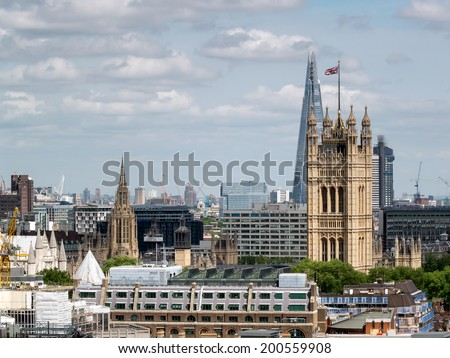 LONDON, UK - JUN 14 : A view from Westminster Cathedral in London on June 14, 2013