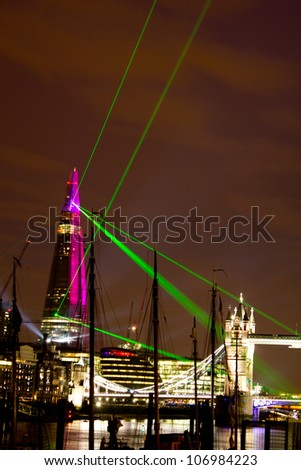 LONDON, UK - JUNE 05: A laser and light show is shown from the Shard to announce the opening of the tallest building in Europe on the June 05, 2012 in London, UK
