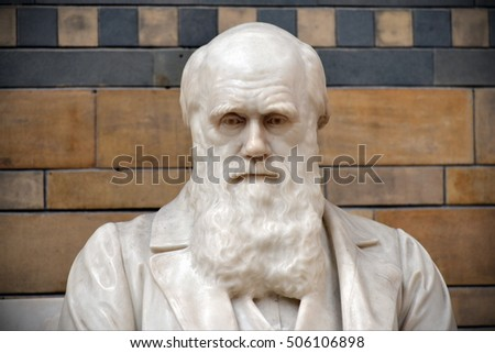 London, UK - June 16, 2015: A statue of Charles Darwin sits in the National History Museum.
