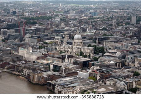 LONDON, UK - JUNE 10, 2015: Aerial view of London