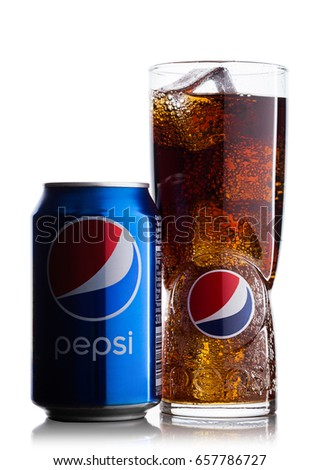 LONDON, UK - JUNE 9, 2017: Aluminium can and glass with ice cubes of Pepsi Cola soft drink on white background.American multinational food and beverage company