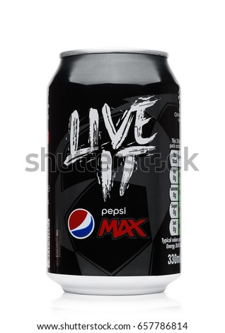 LONDON, UK - JUNE 9, 2017: Aluminium can of Pepsi Cola MAX soft drink on white.American multinational food and beverage company
