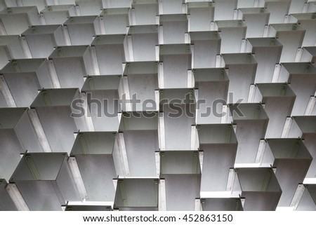 LONDON, UK - JUNE 9, 2016. Architectural detail of the Serpentine gallery annual summer pavilion designed by BIG (Bjarke Ingels Group) and made from hollow fibreglass blocks - stock photo