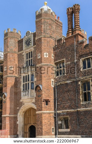 LONDON, UK - JUNE 4, 2013: Architectural fragment of Entrance to Hampton Court, Richmond-Upon-Thames. Hampton Court (1514) was originally built for Cardinal Thomas Wolsey, favorite of King Henry VIII.