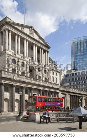 LONDON, UK - JUNE 30, 2014: Bank of England. Square and underground station - stock photo