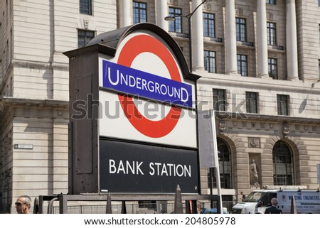 LONDON, UK - JUNE 30, 2014: Bank of England underground station  - stock photo