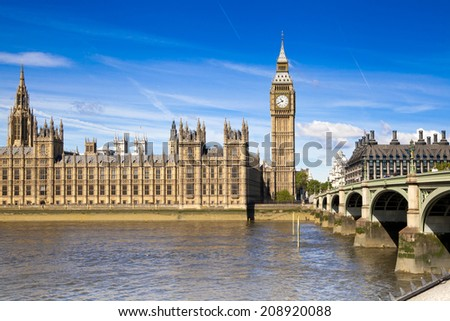 LONDON, UK - JUNE24, 2014 - Big Ben and Houses of Parliament on Thames river