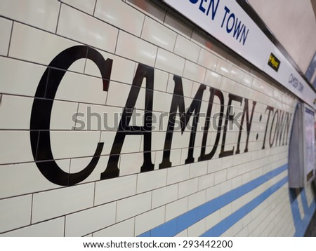 LONDON, UK - June 17, 2015: Camden Town underground station in London. London Underground is the 11th busiest metro system worldwide with 1.1 billion annual rides.