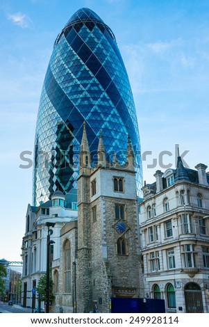 LONDON, UK - June 4, 2012: City of London one of the leading centers of global finance, headquarters for leading banks, insurance, stock , law and other businesses. Gherkin building , - stock photo