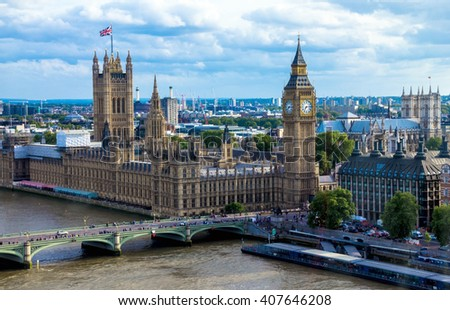 LONDON, UK - JUNE 6, 2015:  Cityscape  with houses of Parliament , Big Ben and  Westminster Abbey - stock photo