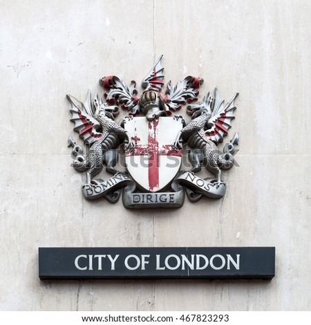 London, UK - June 15, 2016: coat of arms of the City of London. It is the official coat of arms of the City of London, which is one of a number of cities and boroughs in Greater London.