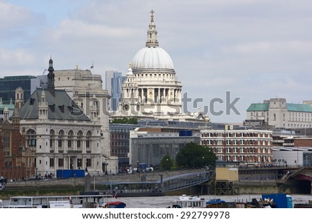 LONDON, UK - JUNE 23: Dome of Saint Paul's cathedral seen from the South Bank. June 23, 2015 in London. - stock photo