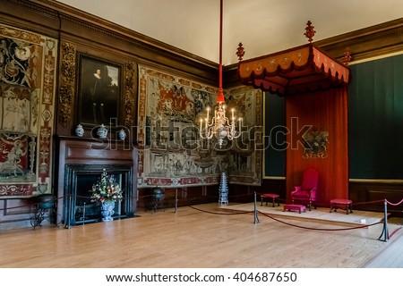 LONDON, UK - JUNE 4, 2013: Interior of Hampton Court Palace in London. Hampton Court was originally built for Cardinal Thomas Wolsey, a favorite of King Henry VIII, circa 1514. - stock photo