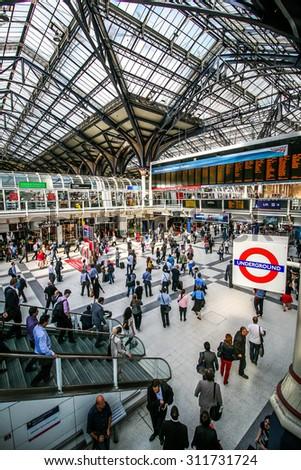 LONDON,UK - JUNE 27 2014 : Liverpool Street Station - stock photo