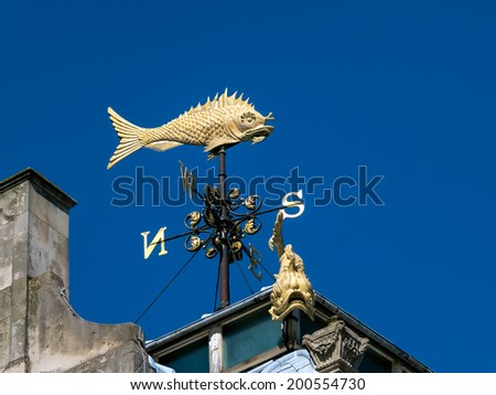 LONDON, UK - JUNE 14 : London's Flyin' Fish weather vane in London on June 14, 2013