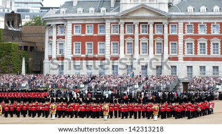 LONDON, UK- JUNE 8 2013: Major General's review for Trooping the Color, Horse Guard. Troops  rehearse for the Queen's birthday parade. London June 8 2013 - stock photo