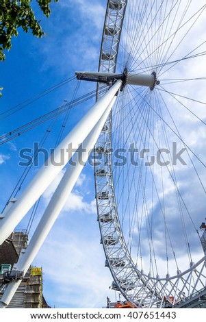LONDON, UK - JUNE 6, 2015: Moving  a giant Ferris wheel situated on the banks of the River Thames