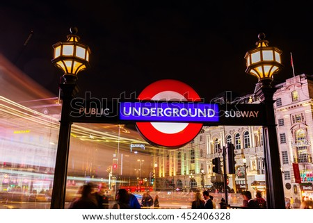 London, UK - June 15, 2016: Piccadilly Circus with unidentified people. Its status as a major traffic junction has made Piccadilly Circus a busy meeting place and tourist attraction